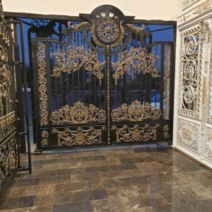 large double wrought iron gate